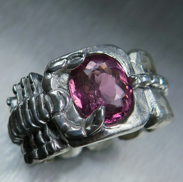 Natural Pink Tourmaline 925 Sterling silver scorpion unisex ring all sizes