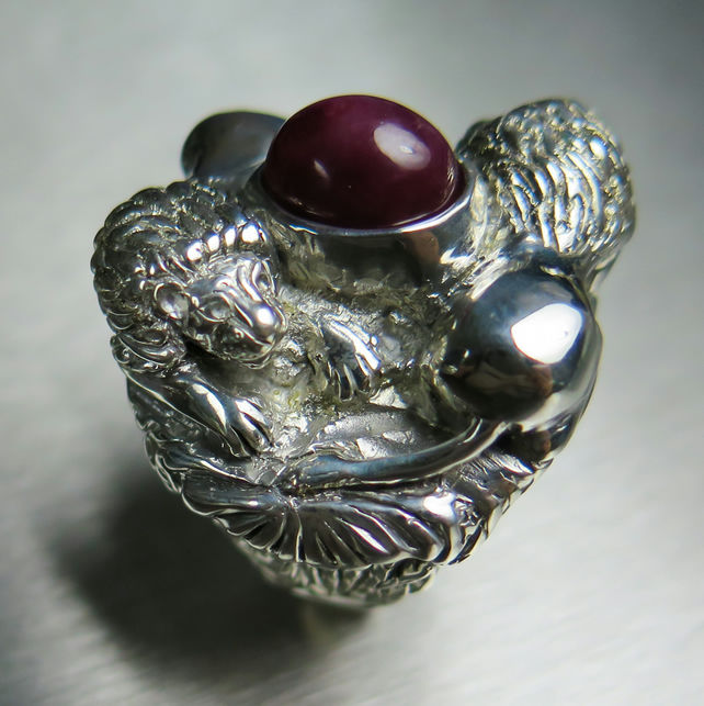 6.60cts Natural Red Star Ruby 925 Sterling silver lions unisex ring all sizes