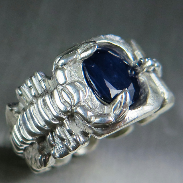 3.2ct Natural solid Dark blue Sapphire 925 silver scorpion unisex ring all sizes