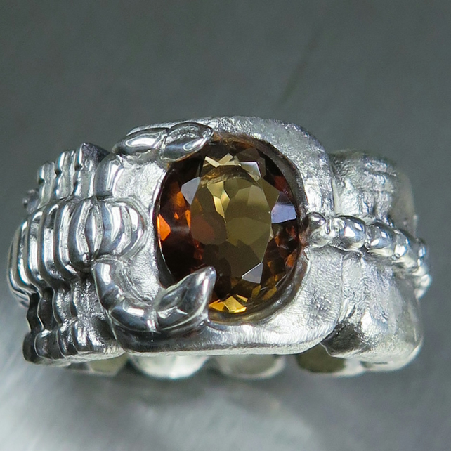 2.60ct Natural Imperial topaz 925 silver scorpion unisex ring all sizes