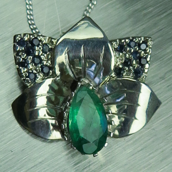 f0a81a9c9fb71 Natural Colombian Emerald & sapphire 925 silver pendant (available in gold)