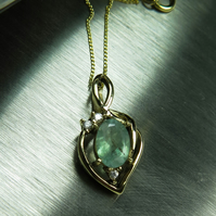 Natural Colombian Emerald & sapphire 925 silver pendant (available in gold)