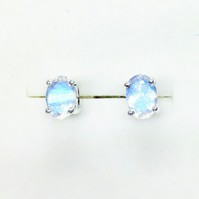 Natural rainbow moonstone oval cut Sterling 925 silver stud earrings