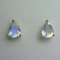 2.7cts Natural rainbow moonstone pear cut Sterling 925 silver stud earrings