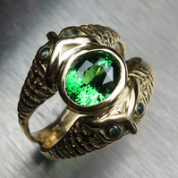 Certified 1.9ct Natural Tsavorite Garnet& alexandrites 18k Gold ring all sizes