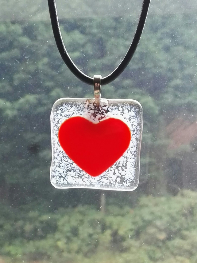 Red Heart Detail Fused Glass Pendant on Leather Cord