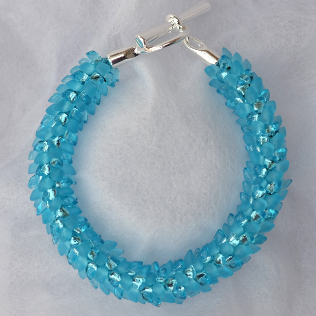 Aqua Blue Frost and Sparkle Dragon Scale Kumihimo Bracelet