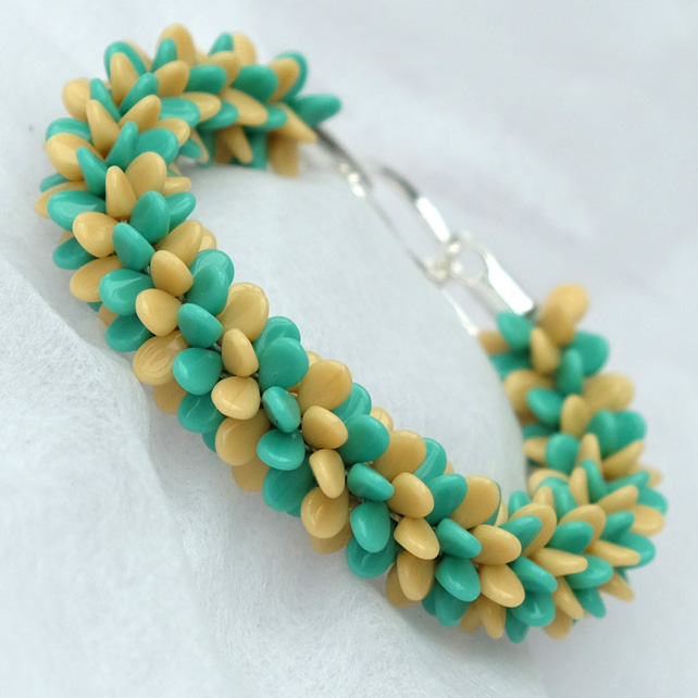 Turquoise and Cream Preciosa Pip Braid Bracelet