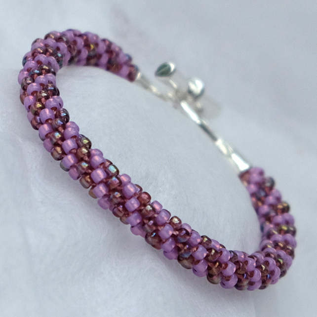 Amethyst Two Tone Beaded Kumihimo Bracelet