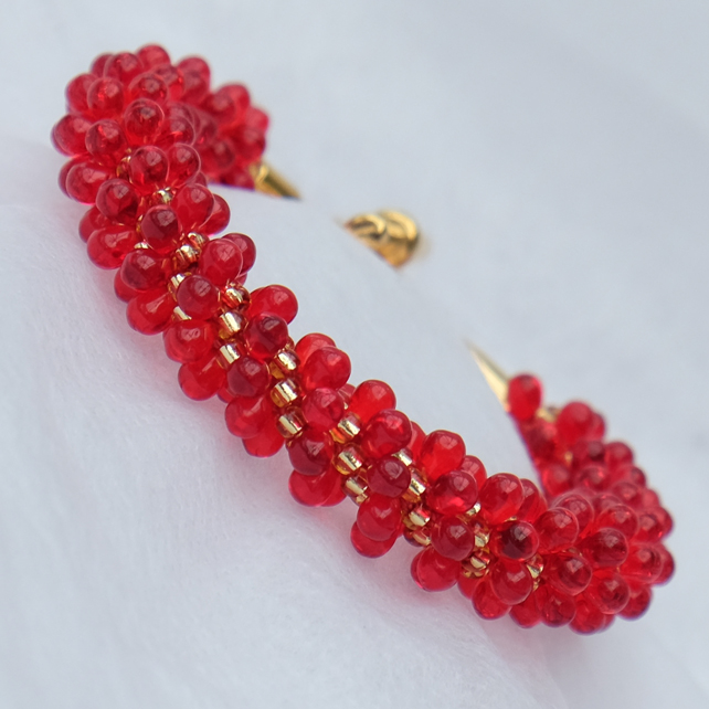 Red and Gold Bubble Spiral Bracelet