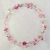 Rose Pink Crystal Wrap Bracelet