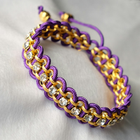 Purple and Gold Cord Wrapped Diamante Bracelet