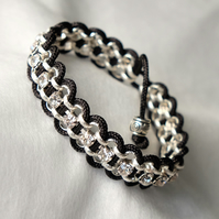 Black and SIlver Cord Wrapped Diamante Bracelet