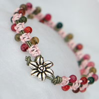 Pink and Green Beaded Macrame Bracelet