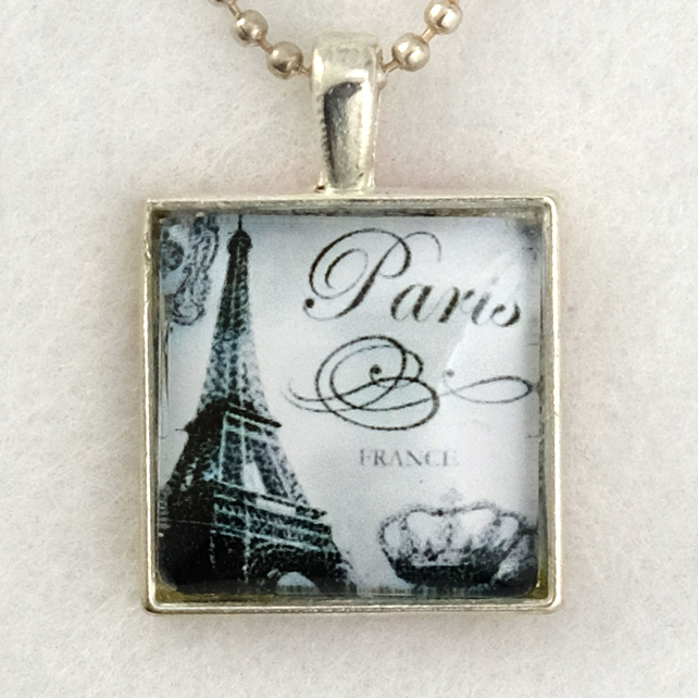 Glass Tile Art Pendant - Vintage Paris
