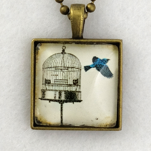 Glass Tile Art Pendant - Vintage Bird and Cage