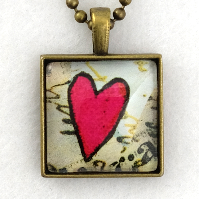 Glass Tile Art Pendant - Funky Red Heart on Script
