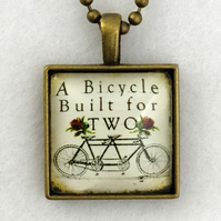 Glass Tile Art Pendant - Vintage Bicycle for Two
