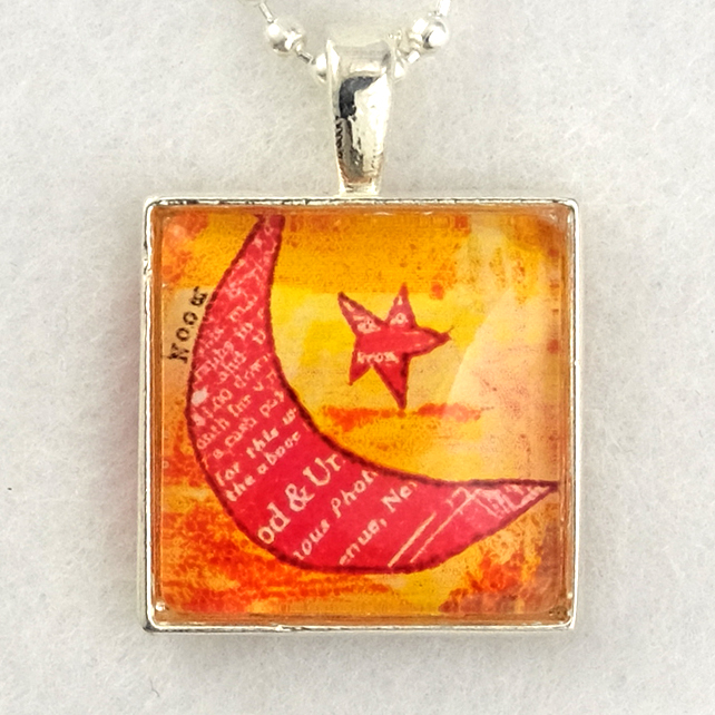 Glass Tile Art Pendant - Funky Red Moon and Star