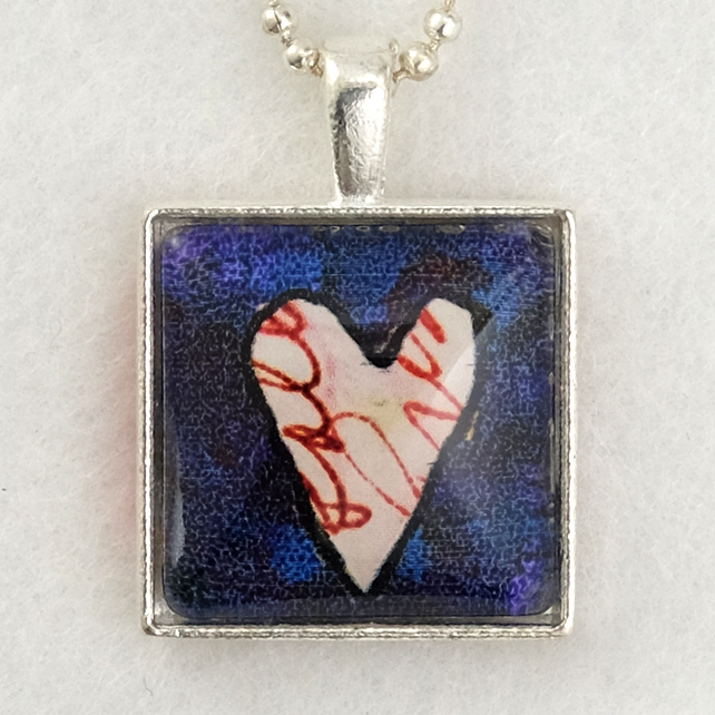Glass Tile Art Pendant - Scribble Heart on Indigo