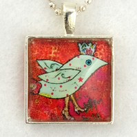Glass Tile Art Pendant - Funky Blue Bird with Crown