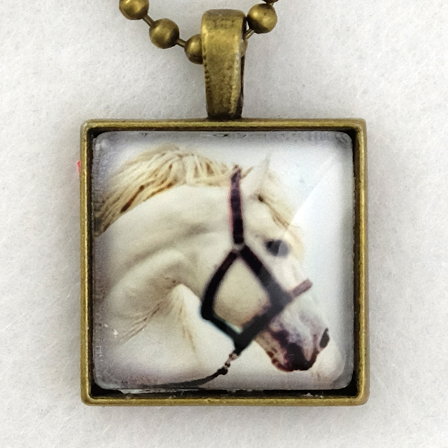Glass Tile Art Pendant - White Horse