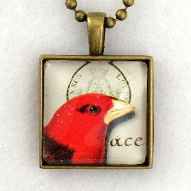 Glass Tile Art Pendant - Vintage Red Bird Postmark