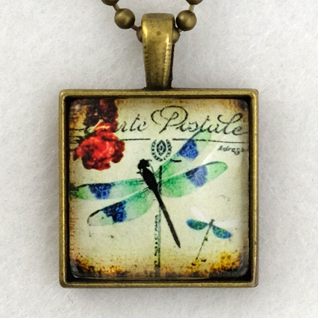 Glass Tile Art Pendant - Vintage Dragonfly Postcard