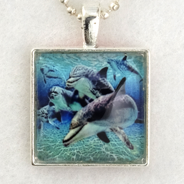 Glass Tile Art Pendant - Underwater Dolphins