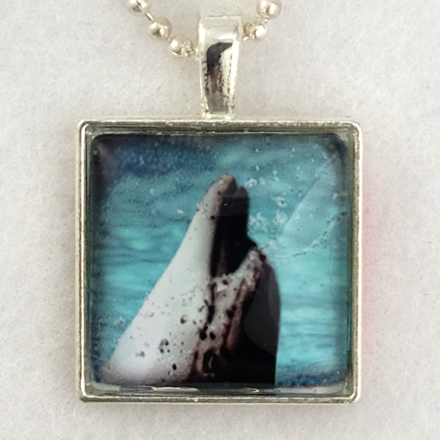 Glass Tile Art Pendant - Dolphin Portrait
