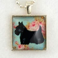 Glass Tile Art Pendant - Black Scottie Dog on Roses