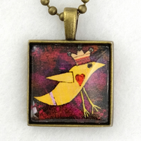 Glass Tile Art Pendant - Funky Orange Bird and Crown