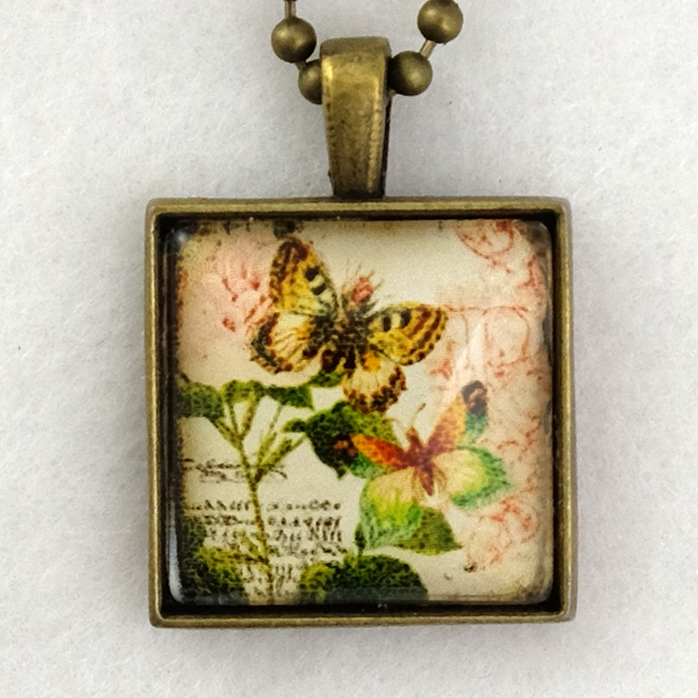 Glass Tile Art Pendant - Vintage Butterflies