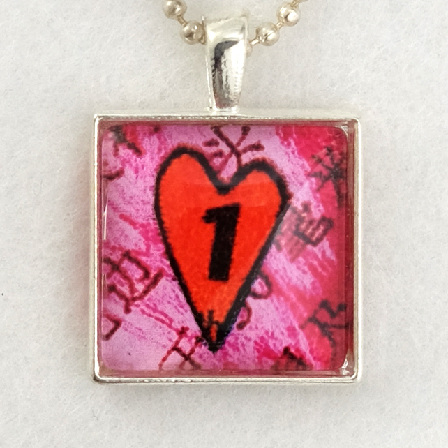 Glass Tile Art Pendant - Funky Number One Heart
