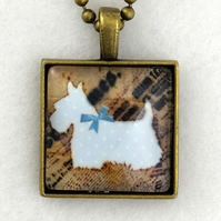 Glass Tile Art Pendant - Dotty  Scottie Dog Blue Bow