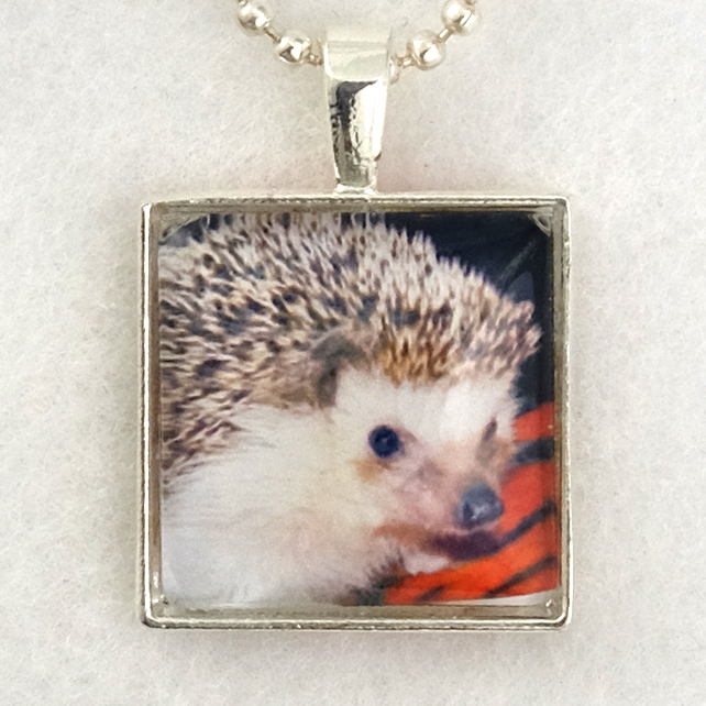 Glass Tile Art Pendant - Hedgehog on Red