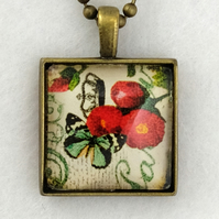 Glass Tile Art Pendant - Vintage Butterfly and Rose