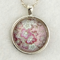 Round Glass Tile Art Pendant - Pink Japanese Floral