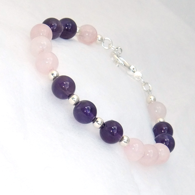 Amethyst and Rose Quartz Semi Precious Bead Bracelet
