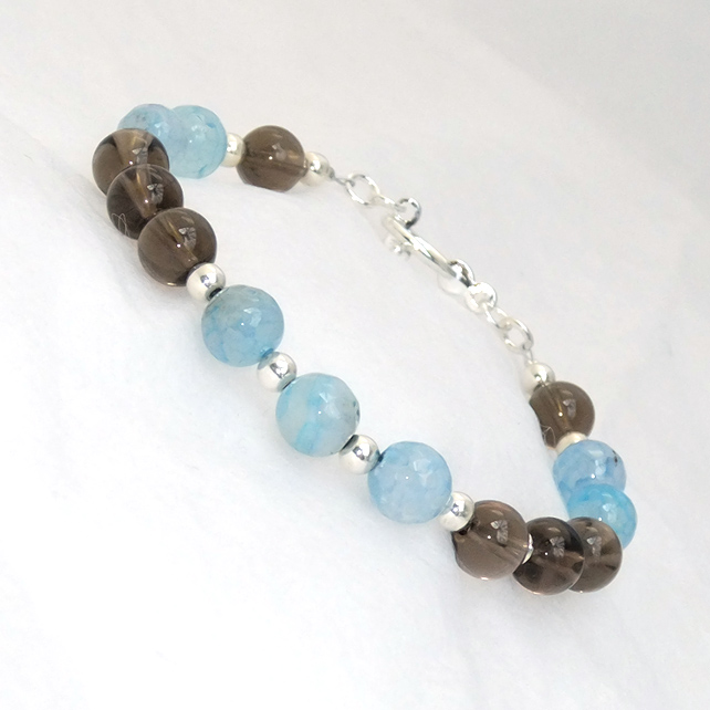 Blue Agate and Smoky Quartz Semi Precious Bead Bracelet
