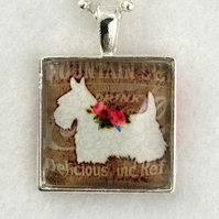 Glass Tile Art Pendant - White Scottie Dog
