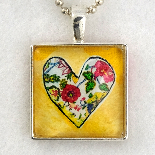 Glass Tile Art Pendant - Floral Heart on Yellow