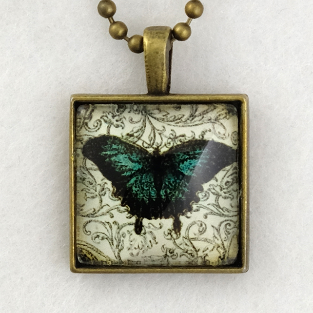 Glass Tile Art Pendant - Vintage Butterfly