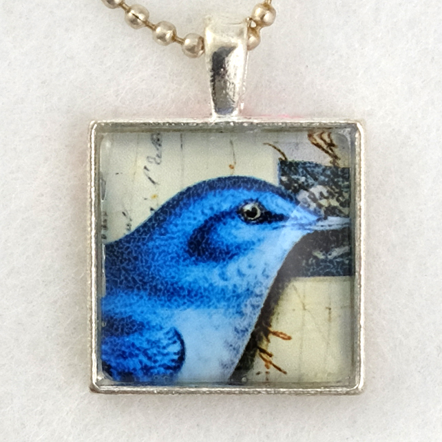Glass Tile Art Pendant - Bluebird on Postcard