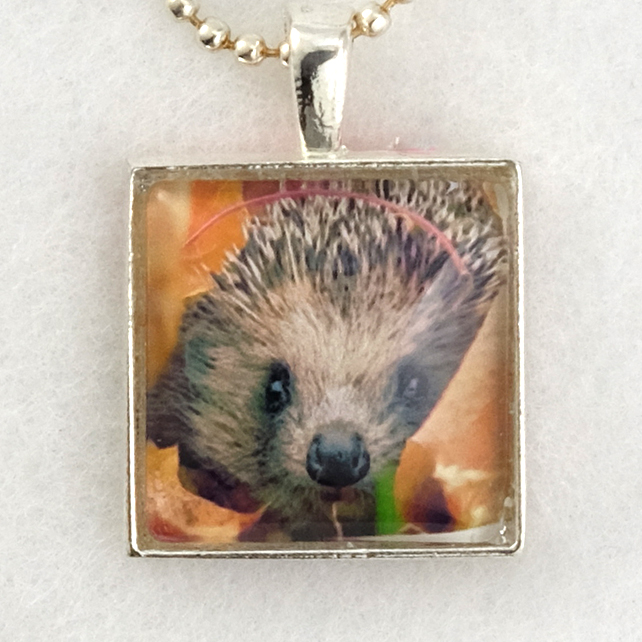 Glass Tile Art Pendant - Hedgehog