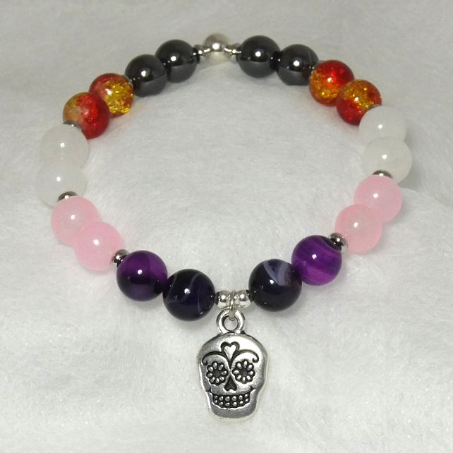 Day of the Dead Stretch Bracelet with Sugar Skull  Charm