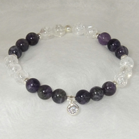 Crown Chakra Crystal and Sterling Silver Stretch Bracelet