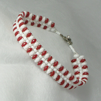 Red and White Twin Bead Bracelet