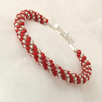Red and Silver  Beaded Braid Bracelet