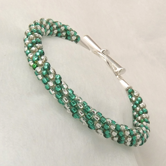 Green and Silver  Beaded Braid Bracelet